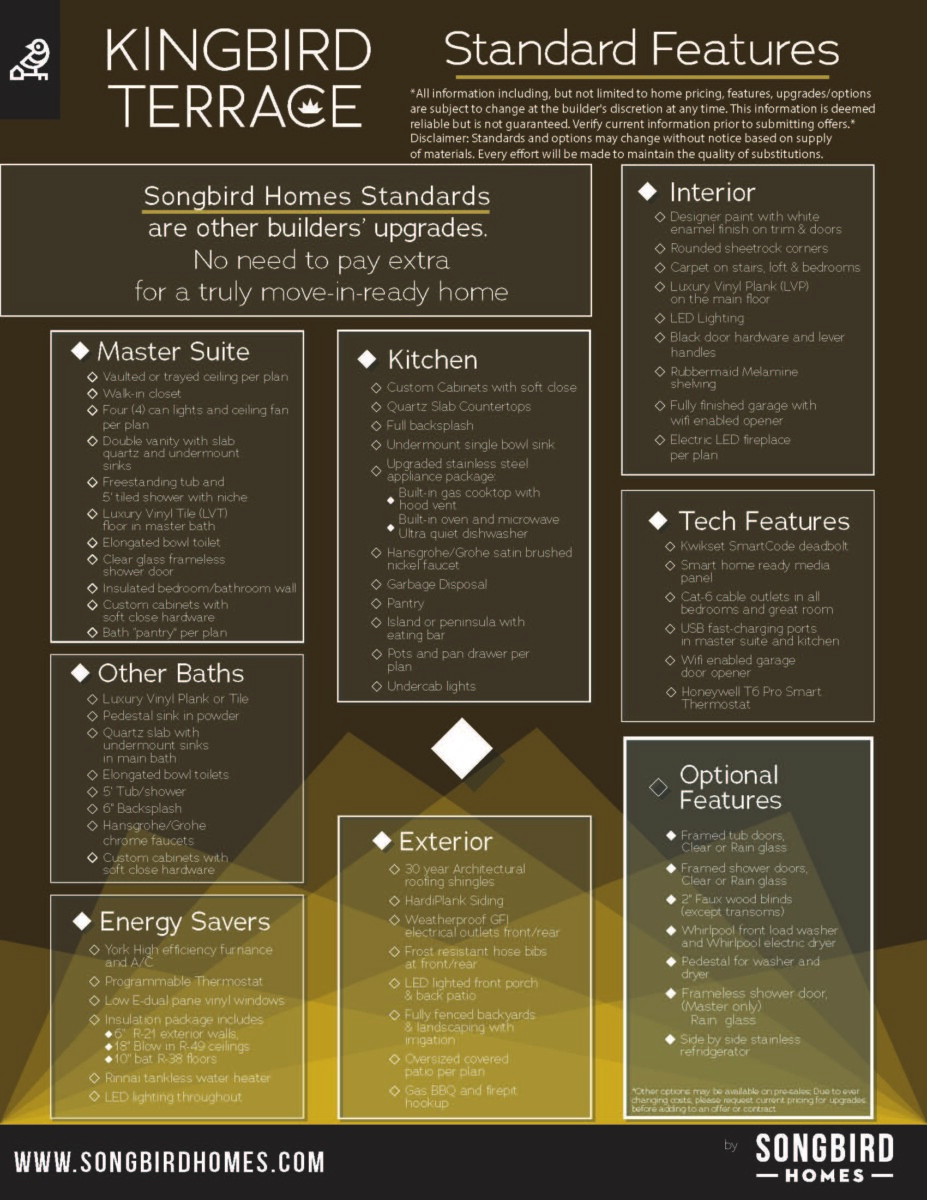 Kingbird Terrace Standard Features